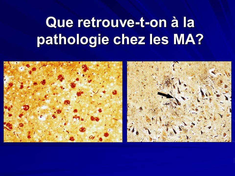 Que retrouve-t-on à la pathologie chez les MA