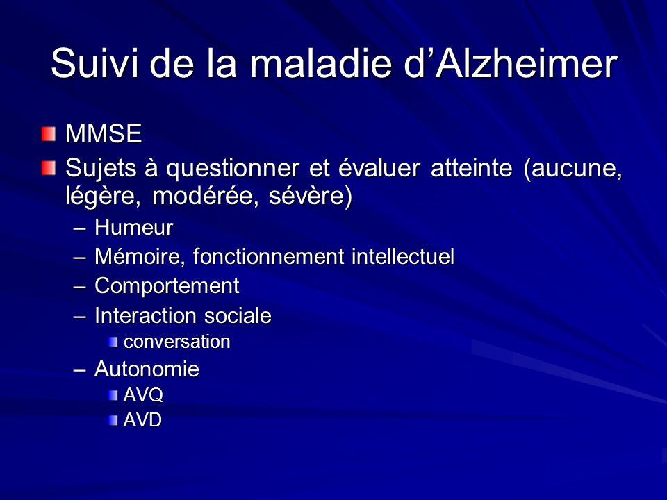 Suivi de la maladie d'Alzheimer