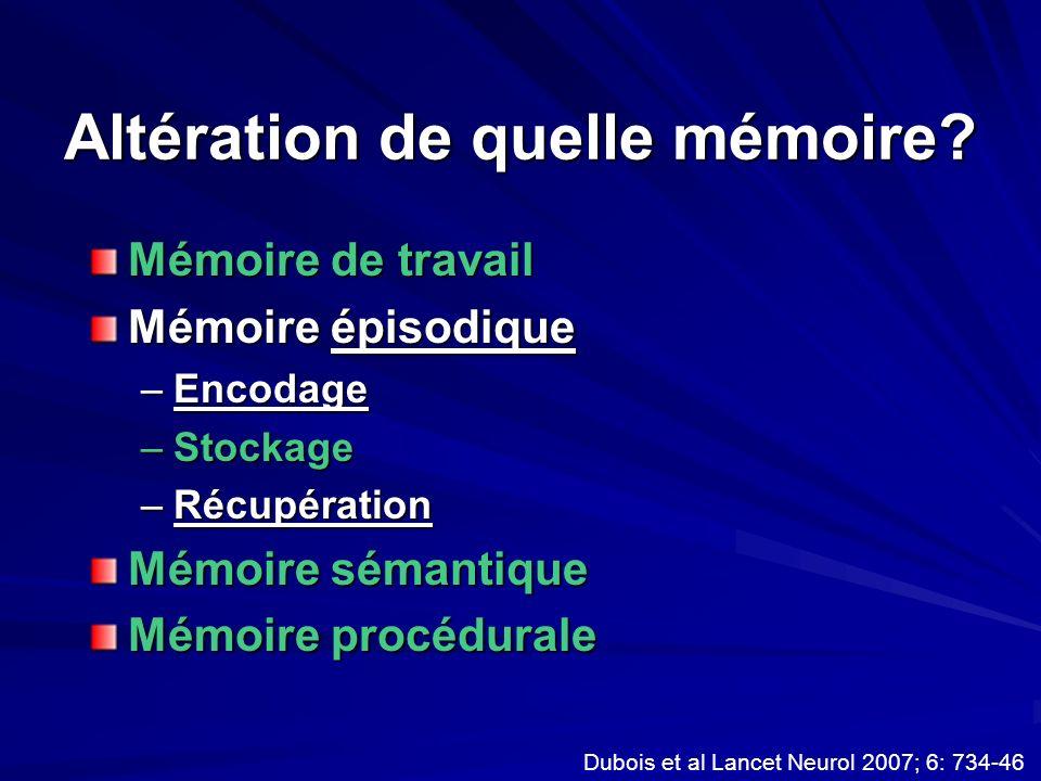 Altération de quelle mémoire