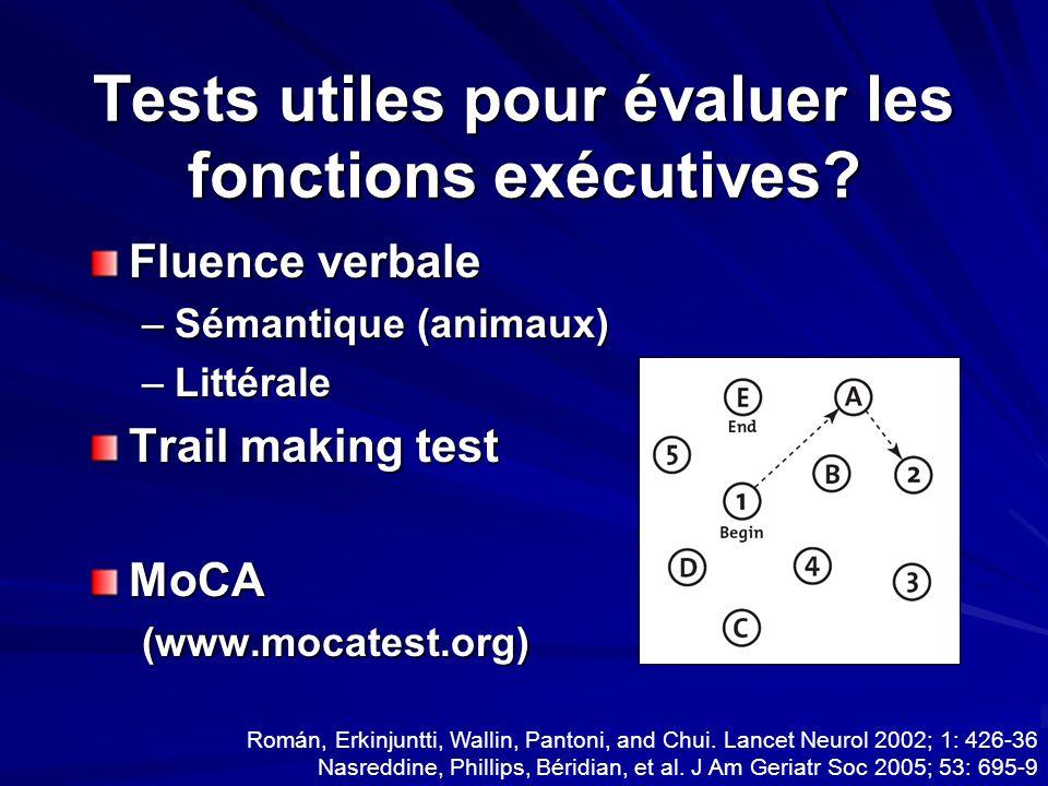 Tests utiles pour évaluer les fonctions exécutives
