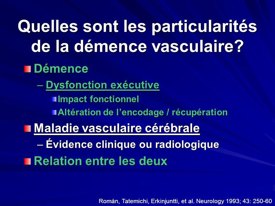 Quelles sont les particularités de la démence vasculaire