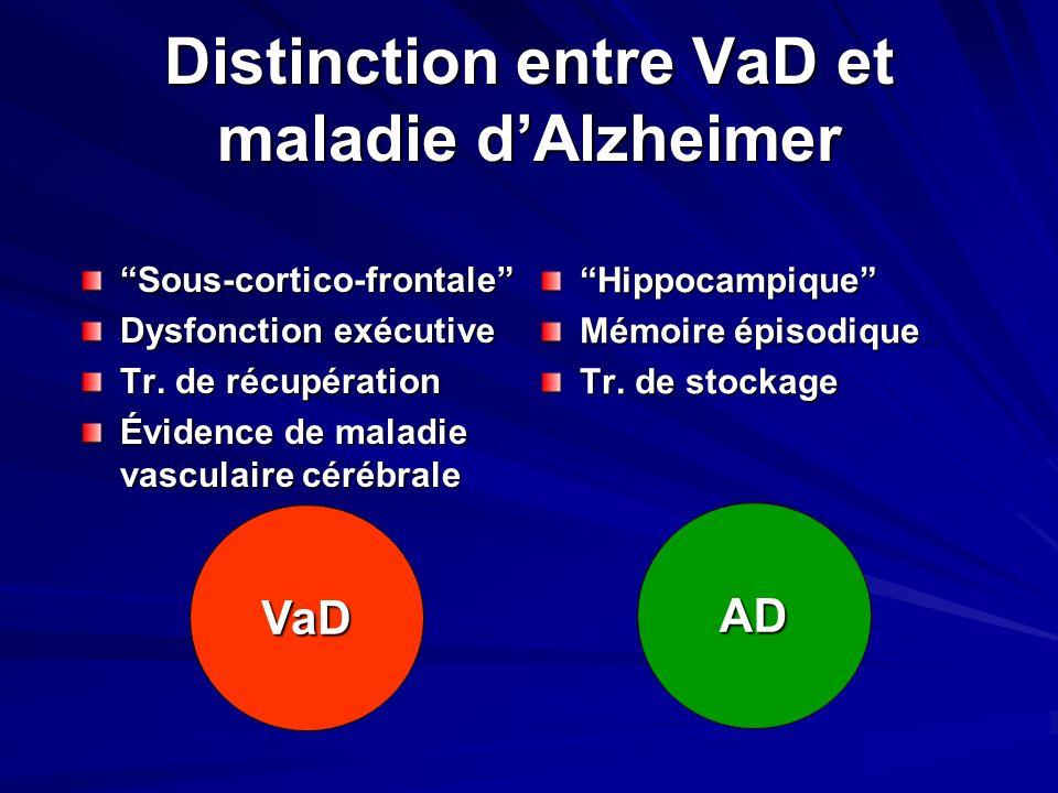 Distinction entre VaD et maladie d'Alzheimer