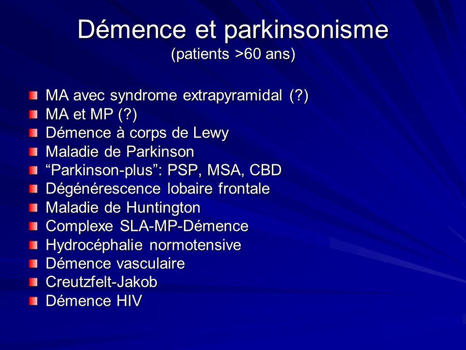 Démence et parkinsonisme (patients >60 ans)