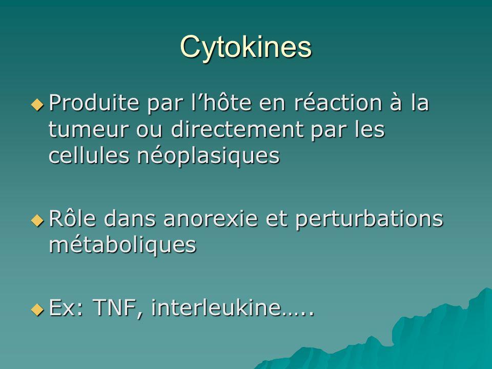Cytokines Produite par l'hôte en réaction à la tumeur ou directement par les cellules néoplasiques.