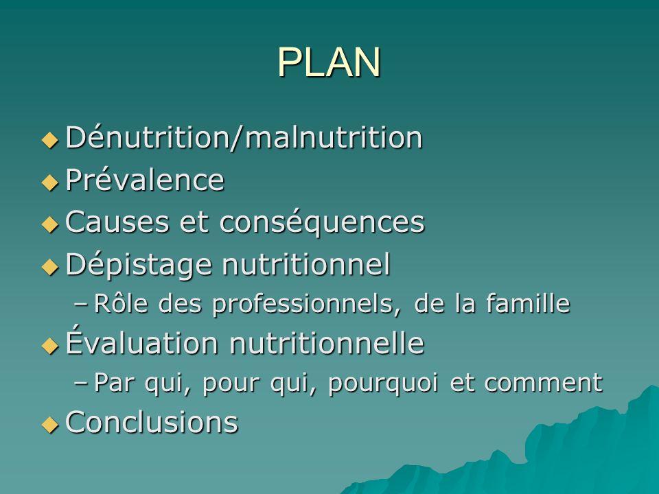PLAN Dénutrition/malnutrition Prévalence Causes et conséquences