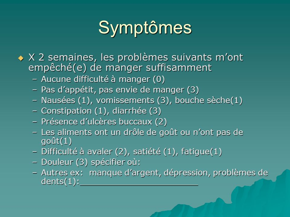 Symptômes X 2 semaines, les problèmes suivants m'ont empêché(e) de manger suffisamment. Aucune difficulté à manger (0)