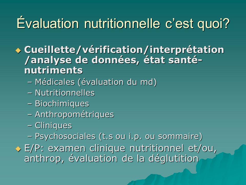 Évaluation nutritionnelle c'est quoi