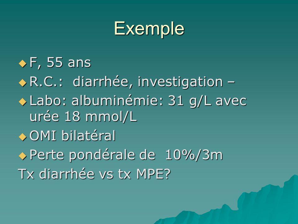 Exemple F, 55 ans R.C.: diarrhée, investigation –