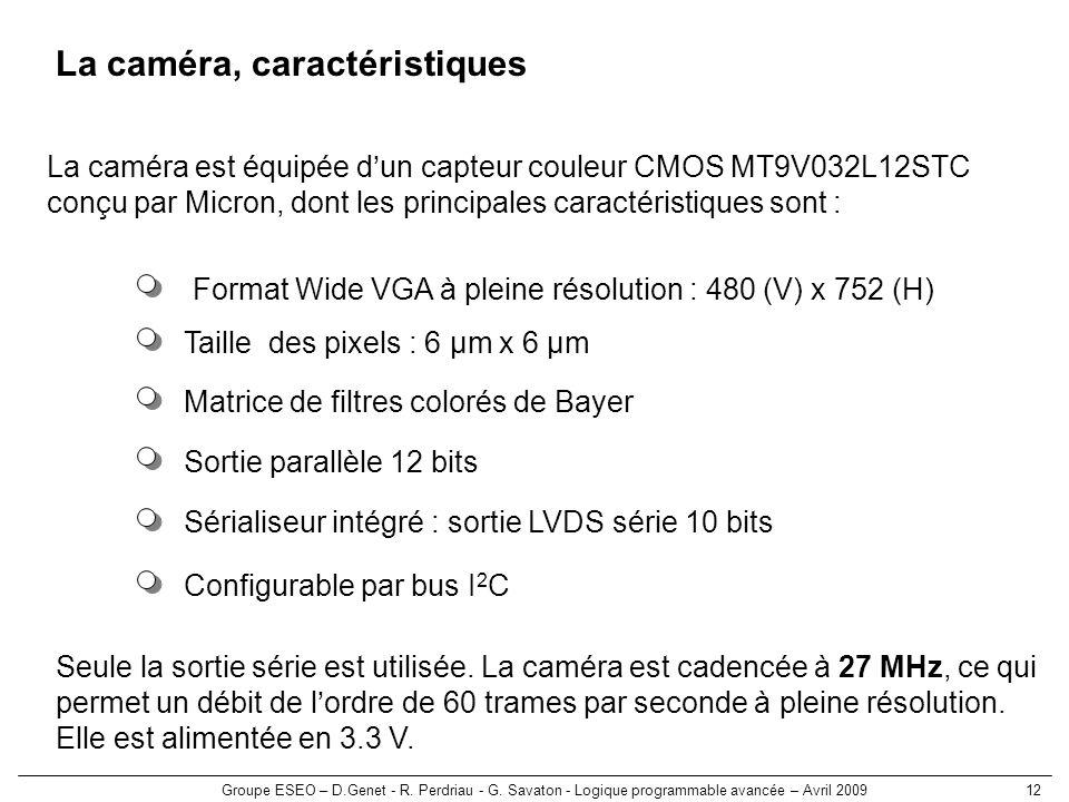 La caméra, caractéristiques