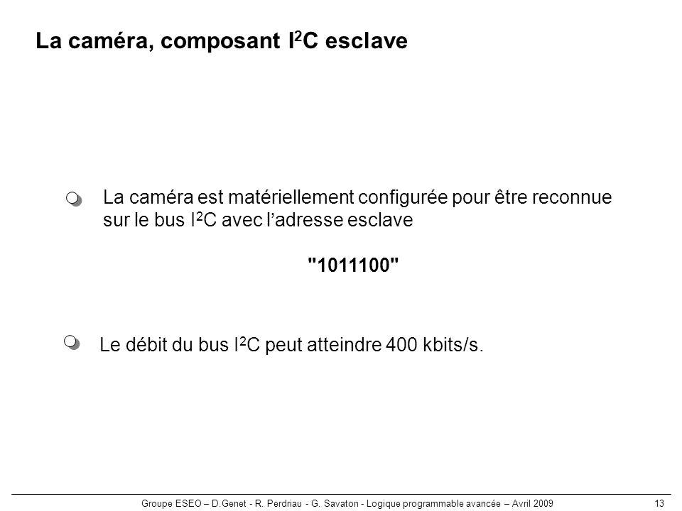 La caméra, composant I2C esclave