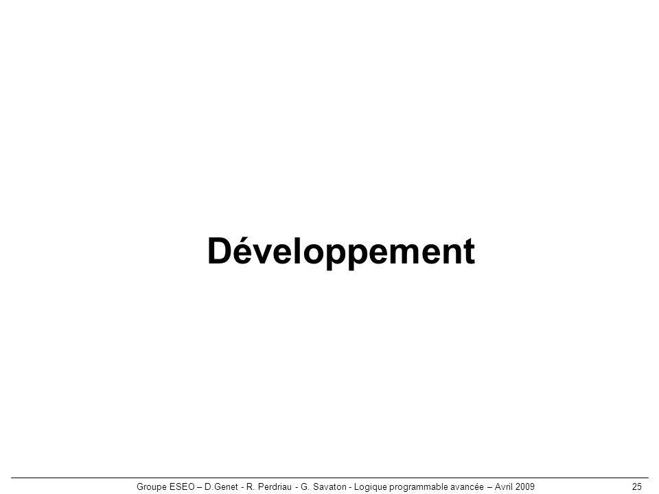 Développement Groupe ESEO – D.Genet - R. Perdriau - G.