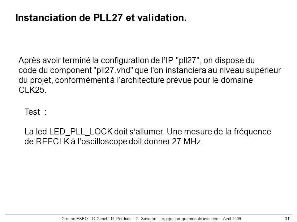 Instanciation de PLL27 et validation.
