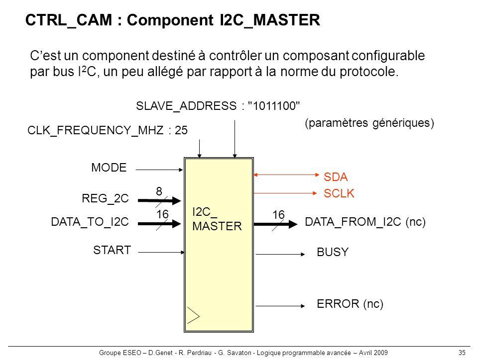 CTRL_CAM : Component I2C_MASTER