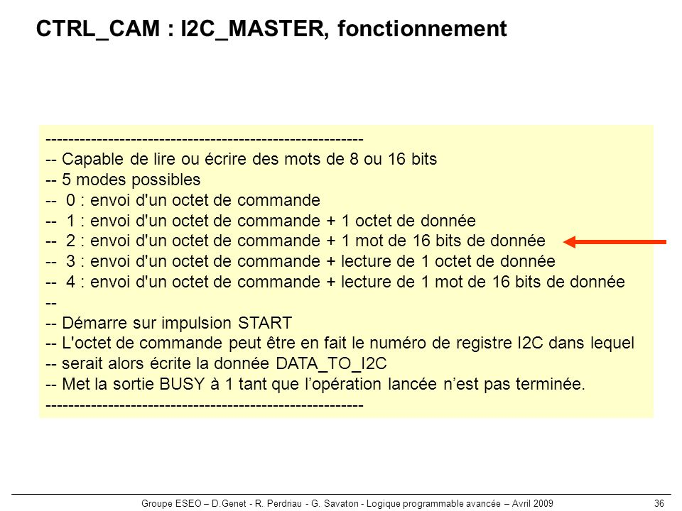 CTRL_CAM : I2C_MASTER, fonctionnement