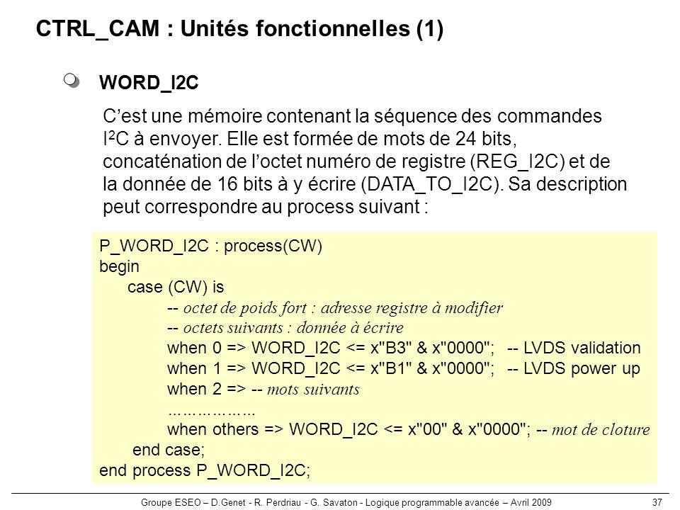 CTRL_CAM : Unités fonctionnelles (1)
