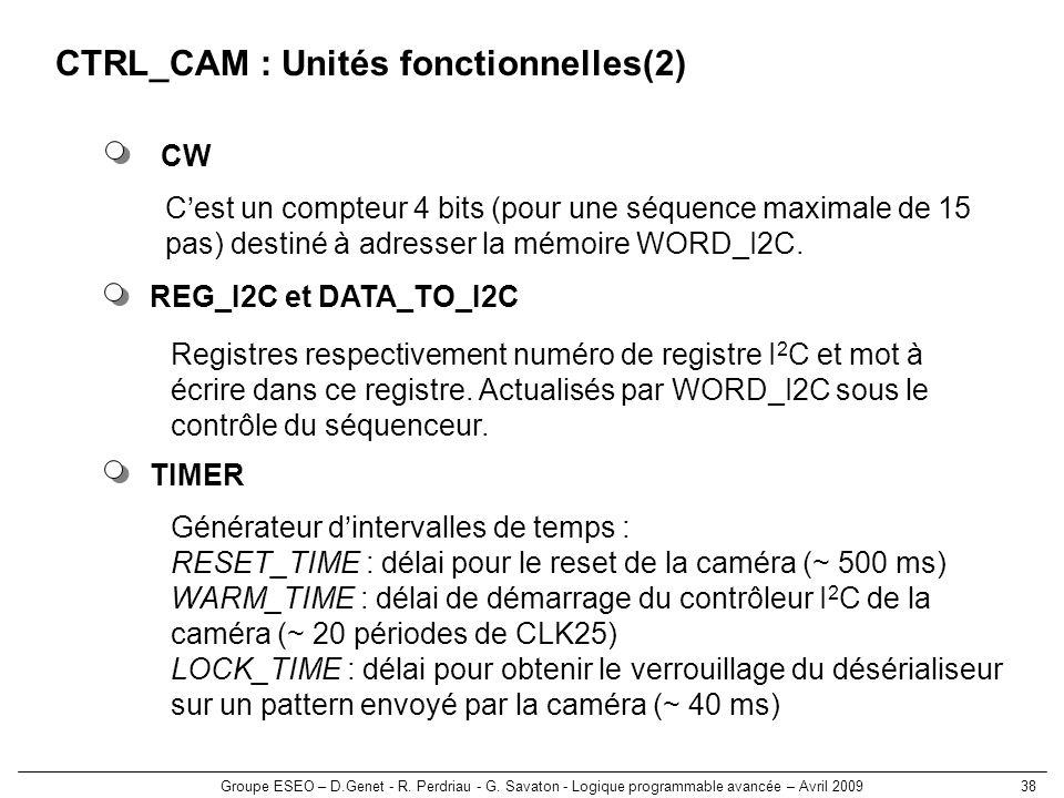 CTRL_CAM : Unités fonctionnelles(2)