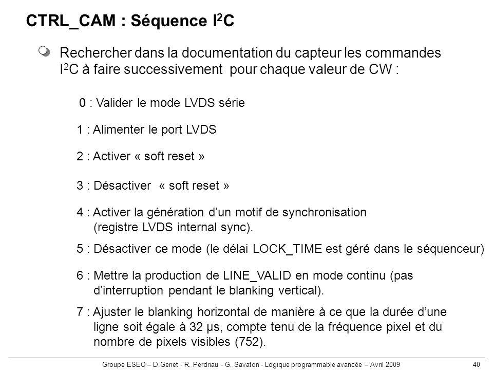 CTRL_CAM : Séquence I2C Rechercher dans la documentation du capteur les commandes. I2C à faire successivement pour chaque valeur de CW :