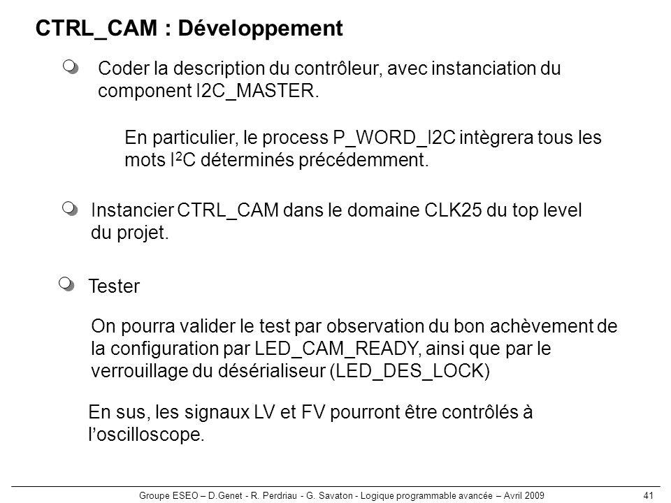 CTRL_CAM : Développement