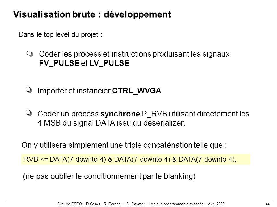 Visualisation brute : développement
