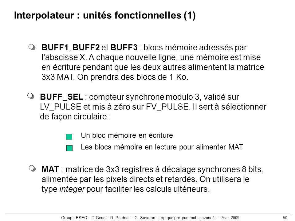 Interpolateur : unités fonctionnelles (1)