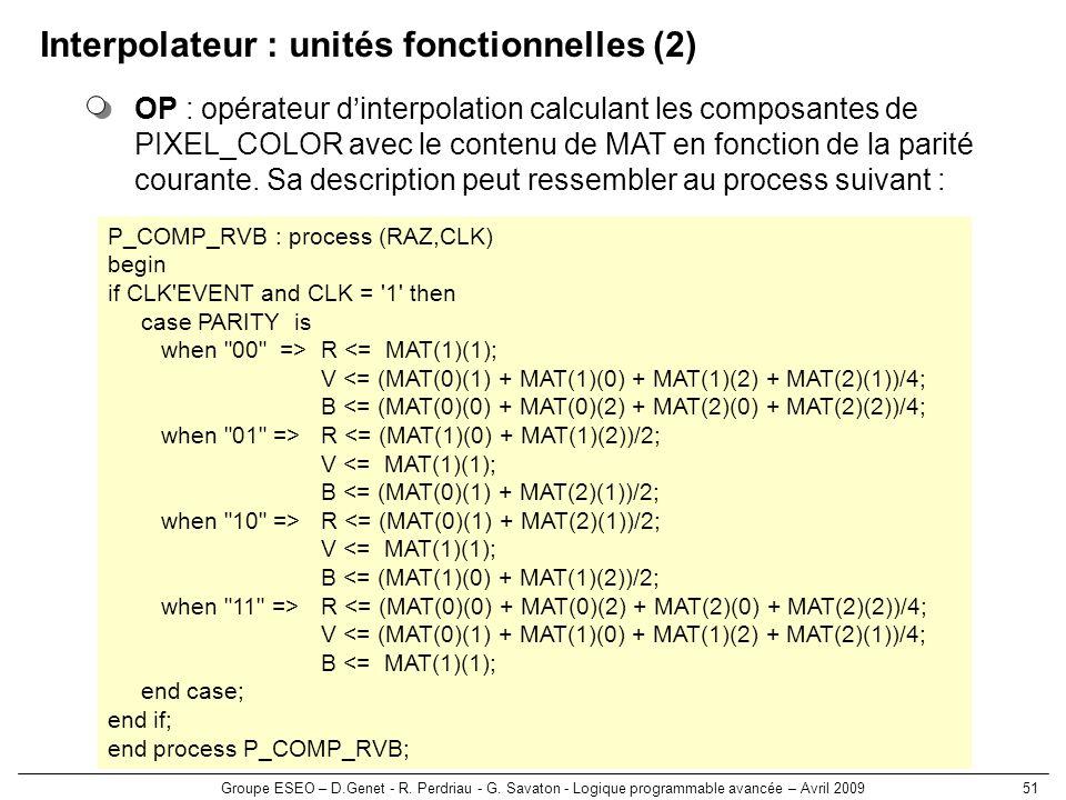 Interpolateur : unités fonctionnelles (2)