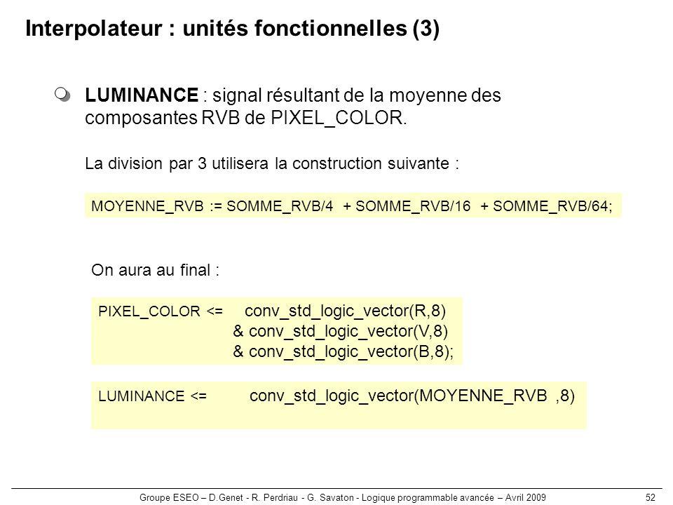Interpolateur : unités fonctionnelles (3)