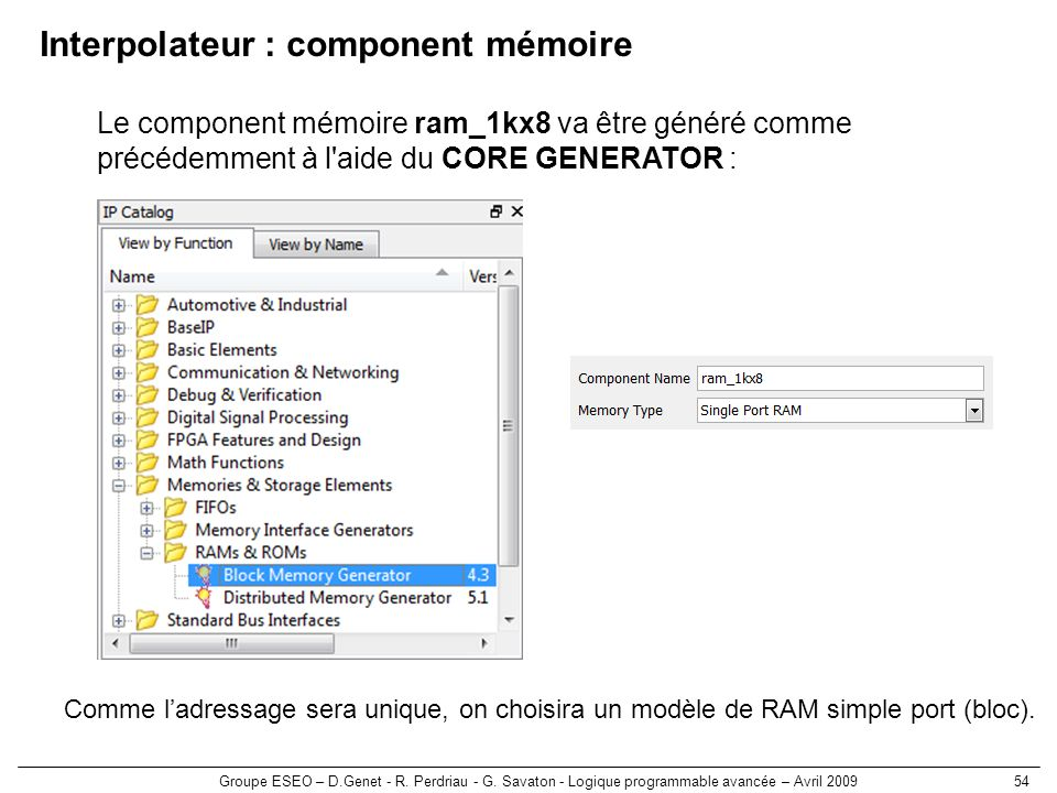 Interpolateur : component mémoire