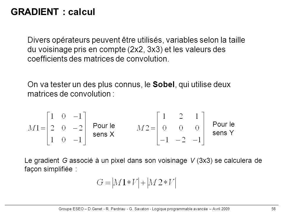 GRADIENT : calcul