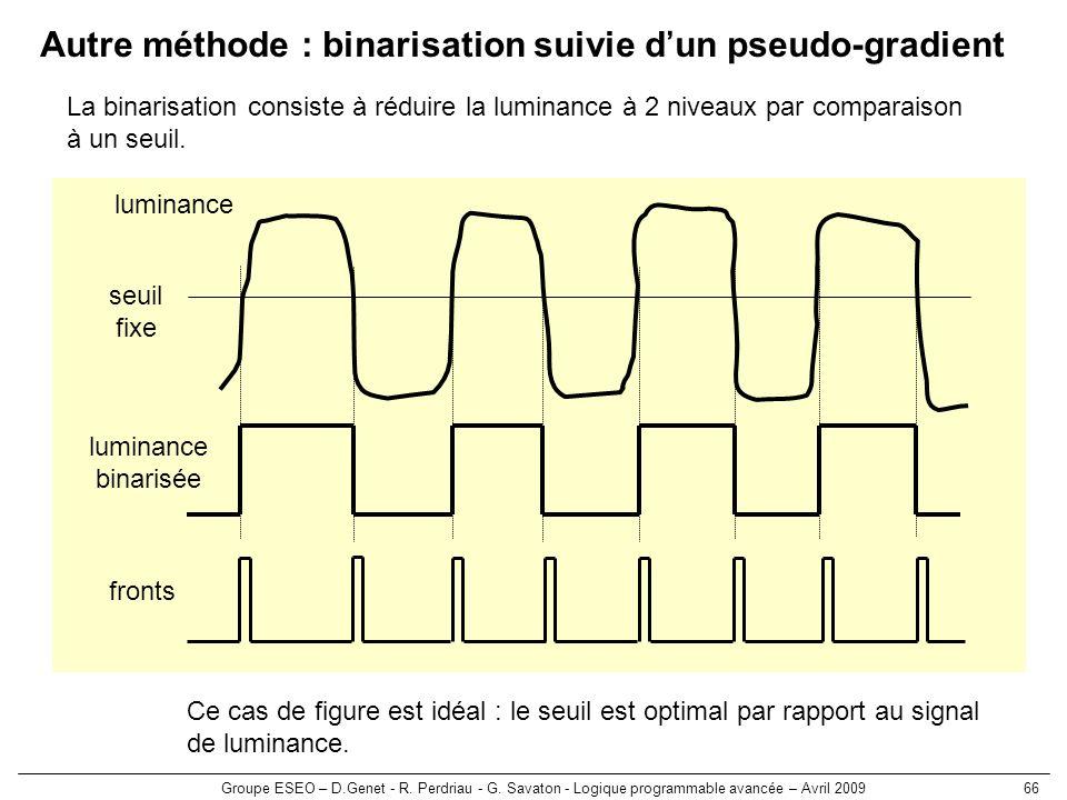 Autre méthode : binarisation suivie d'un pseudo-gradient