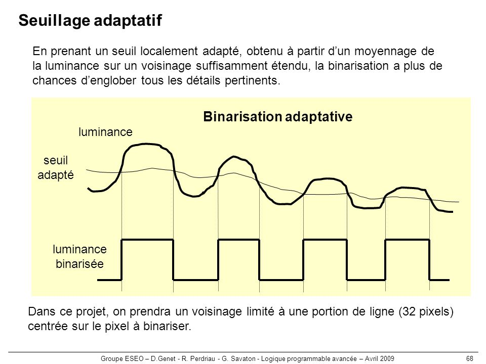 Binarisation adaptative