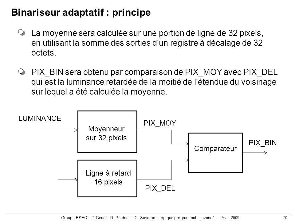 Binariseur adaptatif : principe