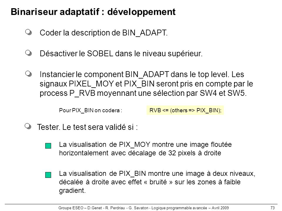 Binariseur adaptatif : développement