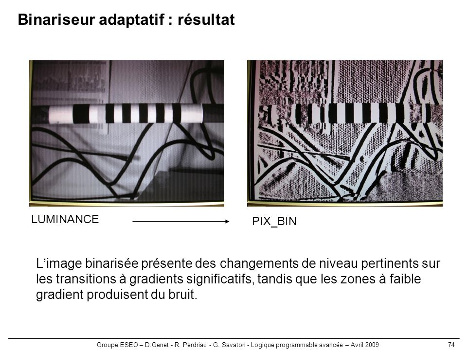 Binariseur adaptatif : résultat