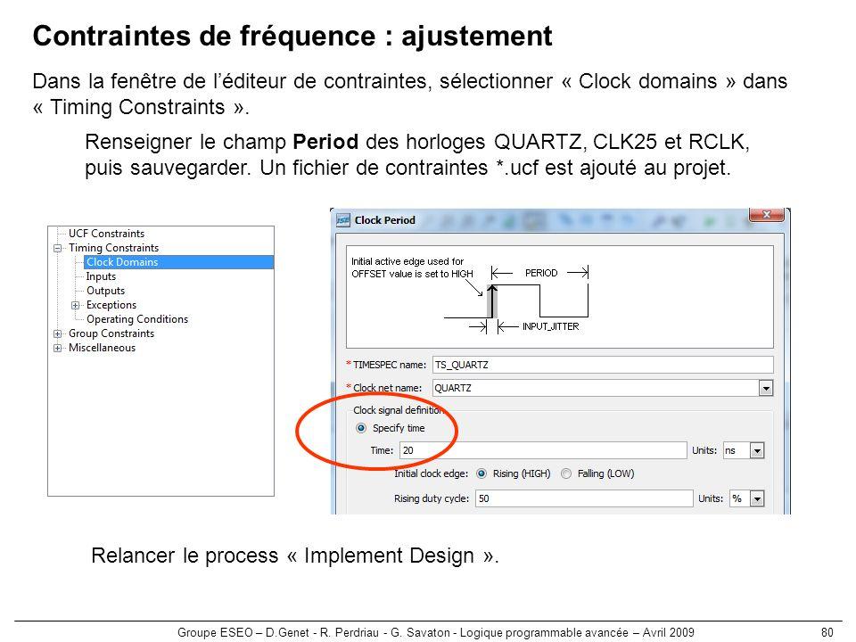 Contraintes de fréquence : ajustement