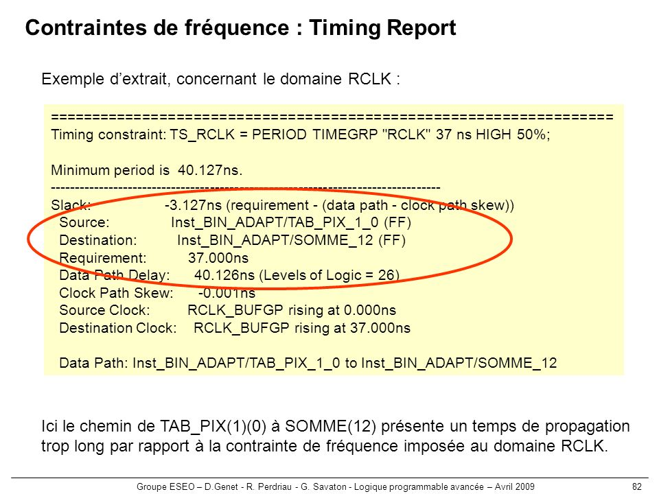 Contraintes de fréquence : Timing Report