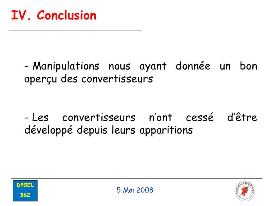 IV. Conclusion Manipulations nous ayant donnée un bon aperçu des convertisseurs.