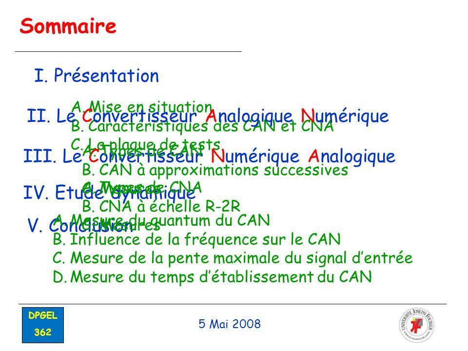 Sommaire I. Présentation II. Le Convertisseur Analogique Numérique