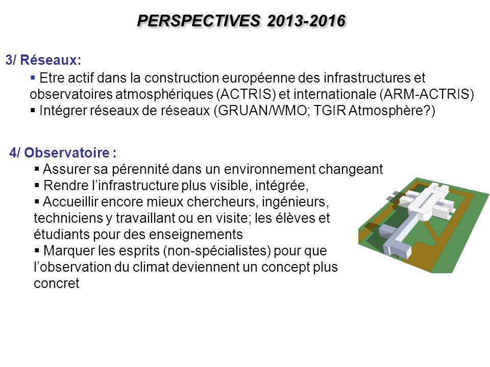 PERSPECTIVES 2013-2016 3/ Réseaux: