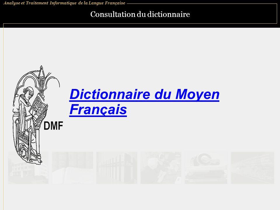 Consultation du dictionnaire