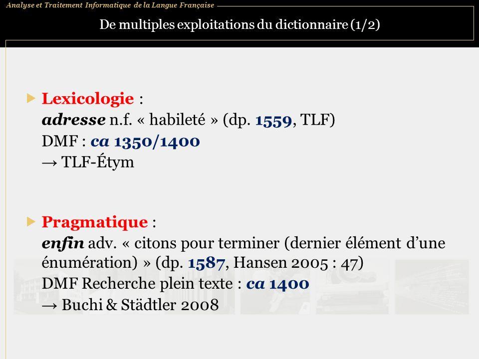 De multiples exploitations du dictionnaire (1/2)