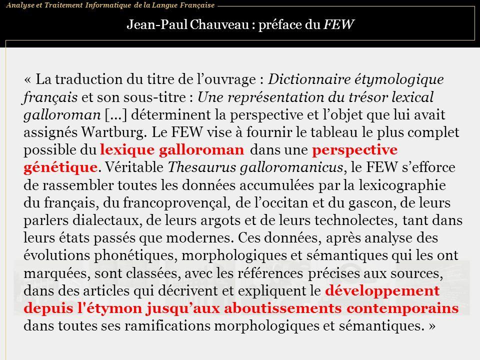 Jean-Paul Chauveau : préface du FEW
