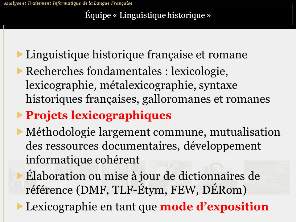 Équipe « Linguistique historique »