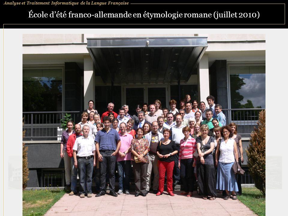 École d'été franco-allemande en étymologie romane (juillet 2010)