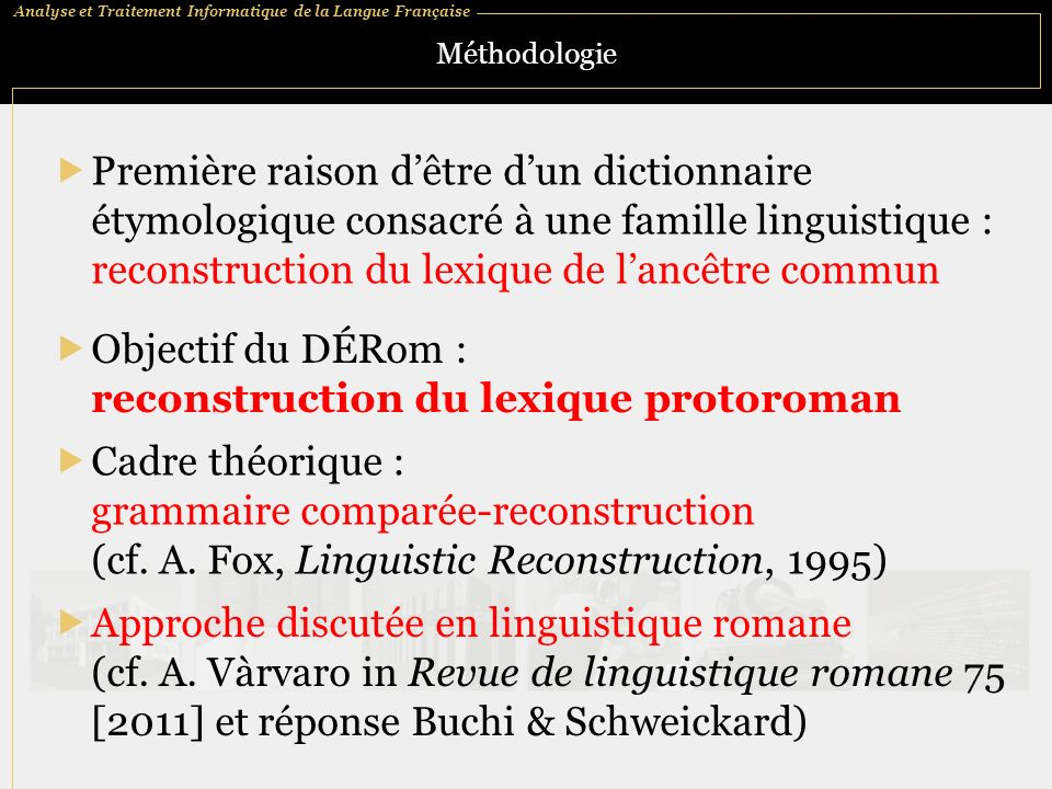 reconstruction du lexique protoroman