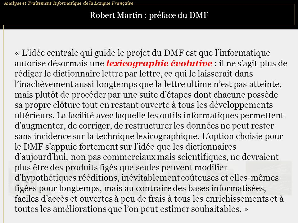 Robert Martin : préface du DMF