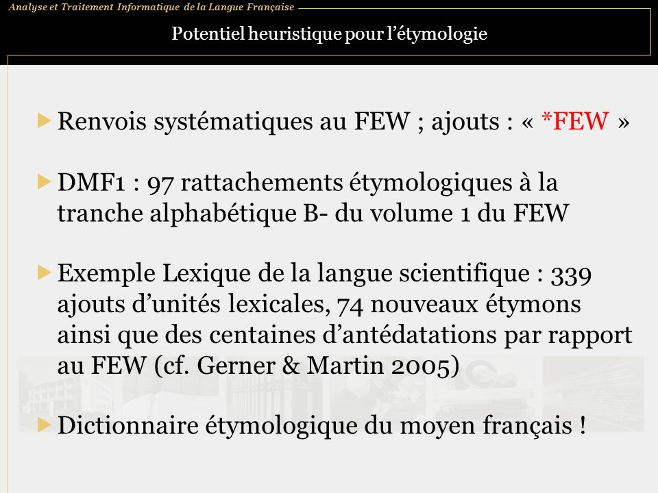 Potentiel heuristique pour l'étymologie