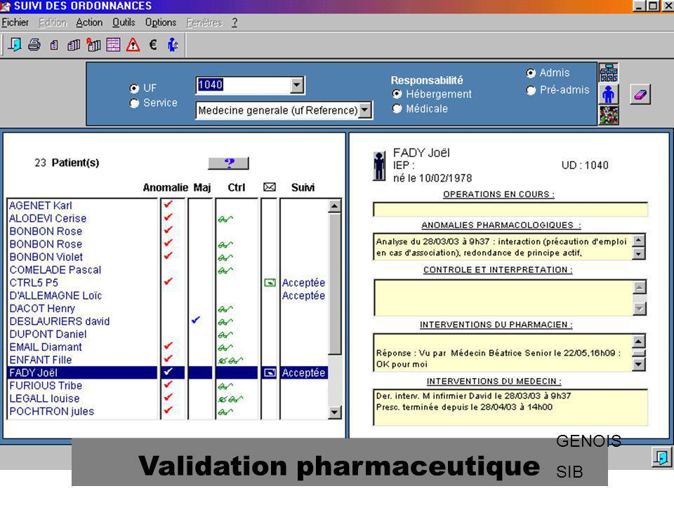 Validation pharmaceutique