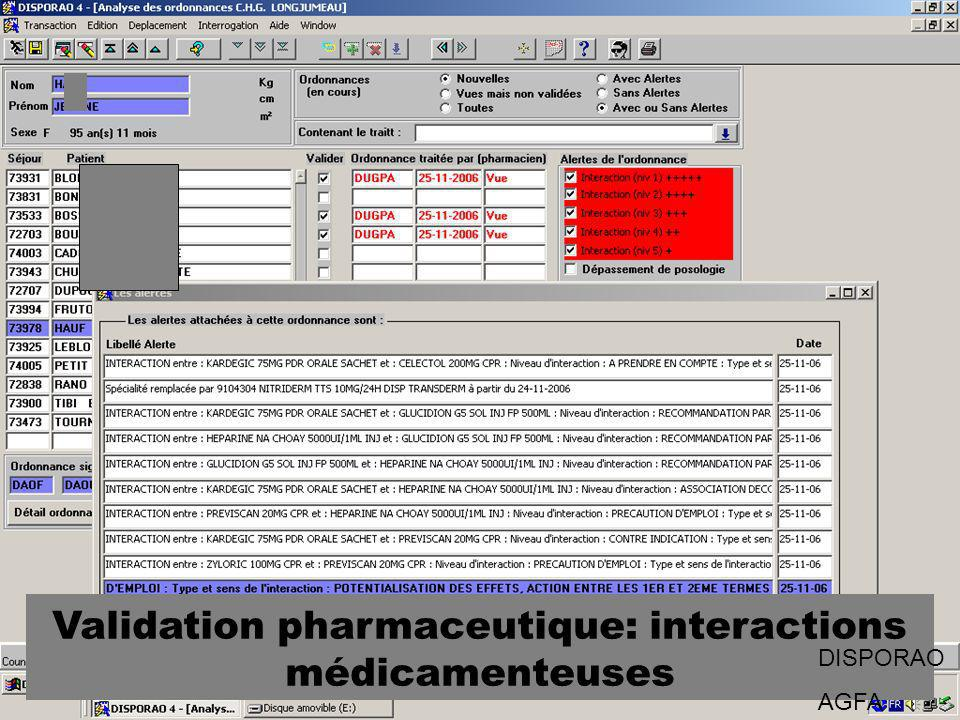 Validation pharmaceutique: interactions médicamenteuses