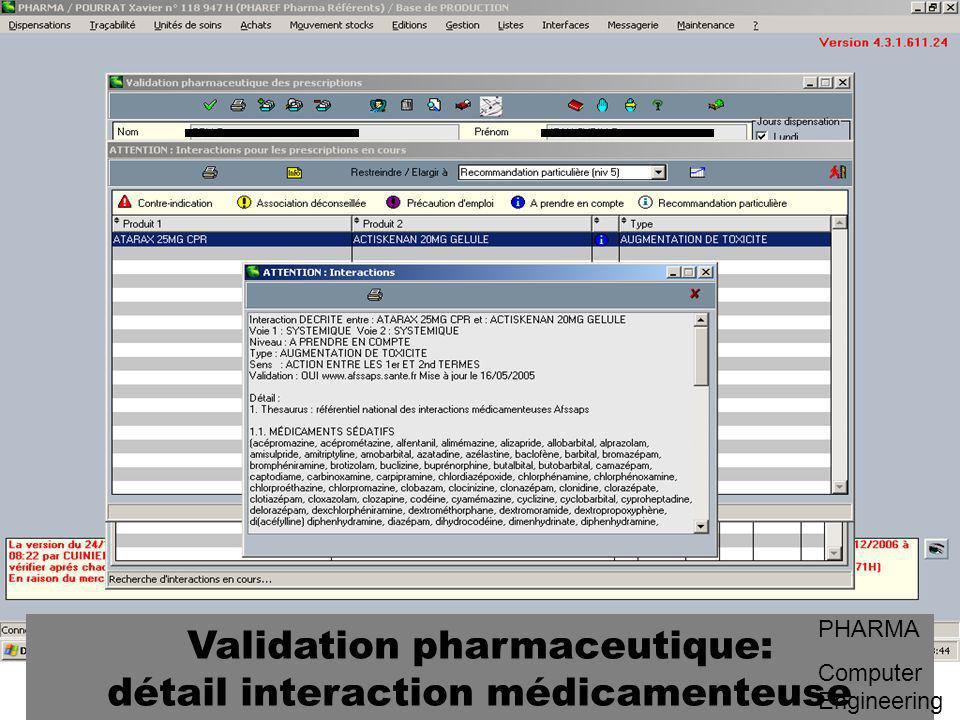 Validation pharmaceutique: détail interaction médicamenteuse