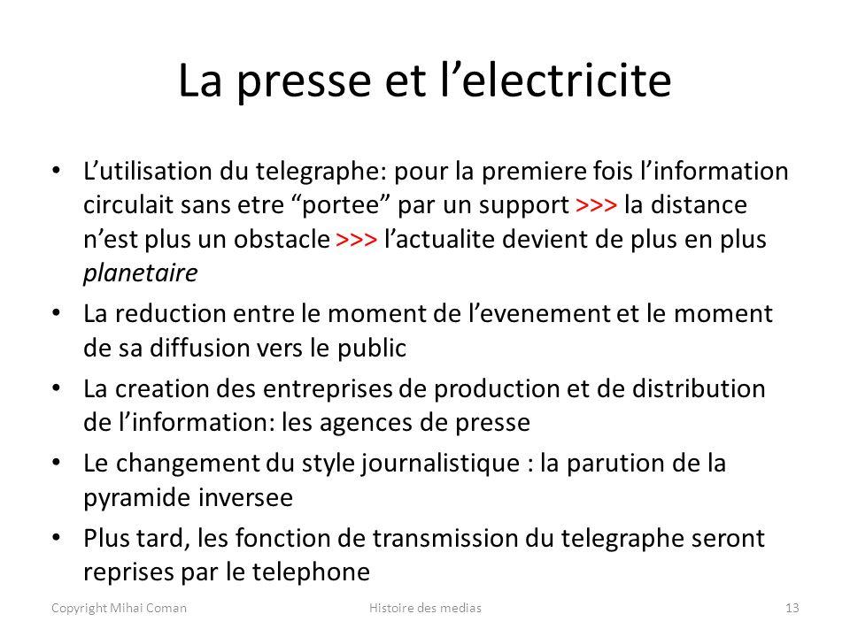 La presse et l'electricite